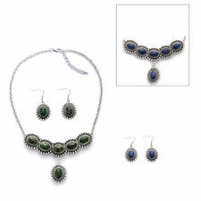 Designer Inspired Lapis Lazuli, Ruby Zoisite Reversible Necklace & Earrings
