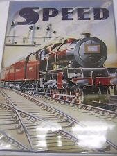 Signo de acero vintage en relieve de ferrocarril de LMS velocidad