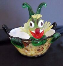 Rare Mid Century Murano Art Glass Clown/Jester Small Ice Bucket~Gold flecks~MORE