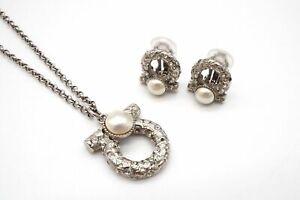 Salvatore Ferragamo Necklace Earring Set Gancini Pearl Rhinestone Silver 6066j