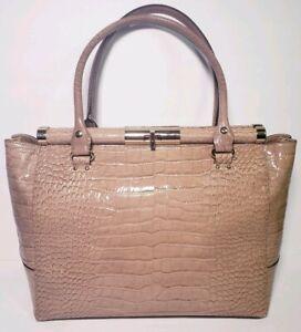 Kate Spade New York Beige Patent Croc Lether Satchel Tote Handbag!