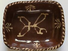 More details for antique small oblong deep slip trailed slipware pottery oven baking pie dish uk