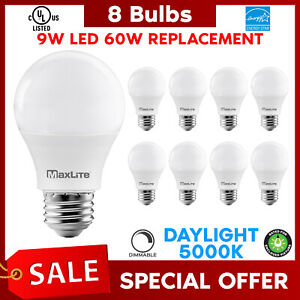 Lot Of 8 Maxlite 9w LED Bulb 60 watt replace A19 Daylight 5000K LED Light 60w