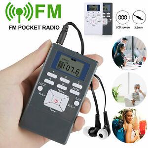 Mini Digital Portable FM Radio Pocket LCD Display Stereo Receiver with Headphone