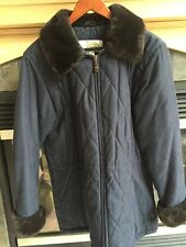 Women's Talbots Winter Parka Jacket Blue Brown Faux Fur Accents Size Small