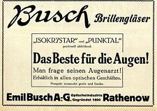Emil Busch A.G. Rathenow Brillengläser Historische Annonce 1913