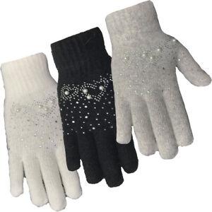 Ladies Pearl & Diamante Winter Wool Gloves