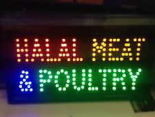 BRAND NEW SHOP FLASHING LED SIGN HALAL MEAT & POULTRY WINDOW SIGN BOARD