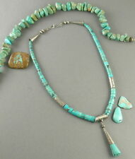 Signed Old Pump Drilled Turquoise heishi stamped sterling tube beads Necklace