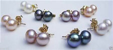14K Gold Plated Stud Earring Aaa 8 Set 4Color 8-8.5Mm Akoya Cultured Pearl
