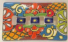 Talavera Quadruple Switch Plate Cover Ceramic Mexican Pottery Light Cover