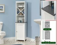 Bathroom Storage Cabinet Tall White Wood Cupboard Shelves Linen Towel Organizer