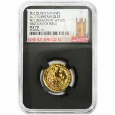 2017 U.K. 25 Pound 1/4 oz Gold Queen's Beast Dragon NGC MS70 FDI Big Ben Label R