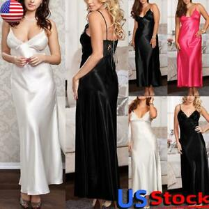 US Women's Slik Lace Robe Dress Lingerie Satin Sleepwear Long Nightdress Pajamas