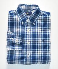 NWT Men's Polo Ralph Lauren Casual Long-Sleeve Shirt Indigo Blue White XL