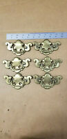 "Lot (6) VTG Antique Brass Finish Dresser Drawer Pulls Chippendale B-512 3.5"" CTC"