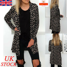 UK Womens Winter Long Sleeve Leopard Print Cardigans Ladies Blouse Long Top Coat
