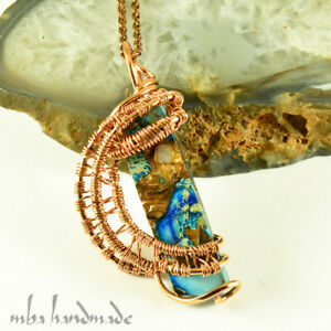Turquoise Crystal Pendant Copper Wire Wrapped Artisan Handmade Jewelry