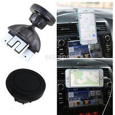 360° Black Round CD/DVD Slot Magnet Car Mount Holder Stand for iPhone Samsung