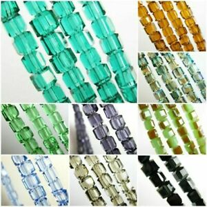 Pretty 50Pcs Glass Crystal Cube Square Bracelet&Necklace Finding Beads 8x8x8mm#