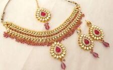Indian Ethnic Bollywood Gold Plated Kundan Fashion Bridal Jewelry Necklace Set 2