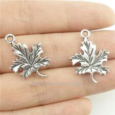 16460*40PCS Anitque Silver Vintage Mini Plant Maple Leaf Pendant Charm Alloy