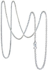 925 Solid Pure Sterling Silver Rope Chain 1.2 mm Rectangular Lobster Clasp