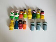 Lot of Vintage Fisher Price Play Family Little People Sesame Street 1 is Wood