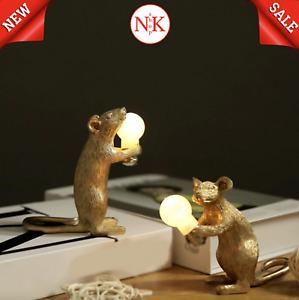 Resin Animal Rat Mouse Table Lamp Small Mini Mouse Cute LED Home Decor Light