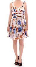 Nuevo con Etiqueta Dolce&Gabbana D&g Floral Seda Above Rodillas Vestido Recto