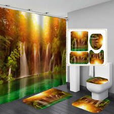 Sunlight Forest Waterfall Shower Curtain BathMat Toilet Cover Rug Bathroom Decor