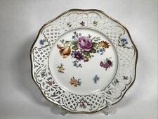 More details for antique dresden schumann reticulated porcelain plate 1932 - 1944 mark floral