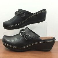 BARE TRAPS Quartet Womens 7M Black LEATHER MULES Slip On Wedge Heel Shoes US 7M