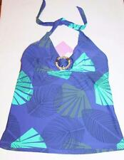 TARGET Brand Blue Hawaii Hibiscus Halter Bikini Top Swimwear Size 12-M BNWT