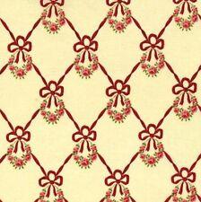 CLEARANCE! Robyn Pandolph Incarnadine Cream Ribbon Wreath Cotton Fabric BTY