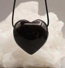 ossidiana nero grande ciondolo cuore prima qualità con cinturino in pelle