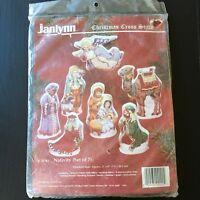 Christmas Nativity Counted Cross-Stitch Figures Tabletop KIT #09-90 Janlynn NIP