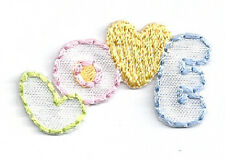 """Love"" Text - Embroidered Yellow Heart - Iron On Applique Patch - Small 1.5""W"