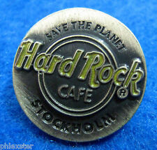 New listing Stockholm Sweden *Pewter* Save The Planet Round Logo Hard Rock Cafe Pin