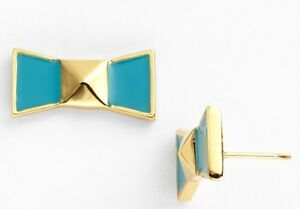 Kate Spade Locked In Bow Stud Earrings Cream, Turquoise Pick A Color - NEW