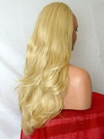 Half Wig Clip In Hair piece flick layered Long 3/4 wig fall Golden blonde Z6