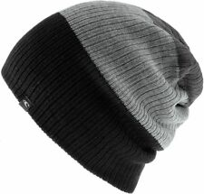 O'NEILL MENS BEANIE.NEW REVERSIBLE BLOCK BLACK GREY LOOSE FIT HAT 7W 127 9010