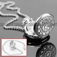 HOT SALE Antique Charm Silver Hollow Quartz Pocket Watch Pendant Necklace Chain