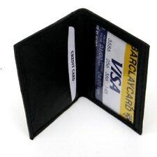 Black Mens Bifold Leather Thin Window ID Thin Credit Cards Minimalist Wallet