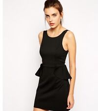 BCBGMaxAzria Club Party Dress In Black With Peplum Detail Size M