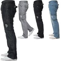 Men's Enzo Jeans Cargo Combat Stylish King Size Denim Loose Fit Trousers Pants