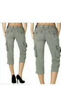Women's Rock Revival Slate Grey Cargo Capri Cropped Pants Size 27 REC059W-1 GRY