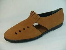 Women's HUSH PUPPIES Shoe Size 7M Lovely Tan Leather Open-Side Flats L11