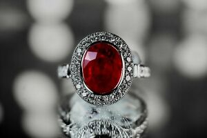 18K GOLD RUBY DIAMOND SOLITAIRE ENGAGEMENT RING $14300 -  2.2CT