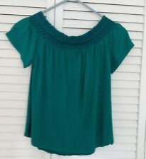"""GIRLS """"OLD NAVY"""" GREEN SHORT SLEEVE BLOUSE, ELASTIC TRIM AT THE TOP, SIZE XS/TP"""